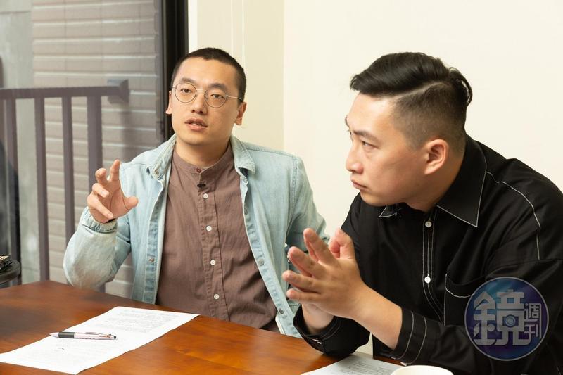 本土奇幻戲劇《妖怪人間》,由編導馬毓廷(左)、製作人張辰漁(右)兩位七年級生合作完成。