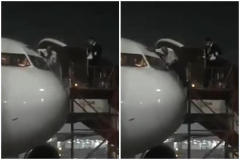 機師為避免接觸座艙乘客,下機時竟從駕駛艙窗戶爬出來。(翻攝自SKY lovers Youtube頻道)