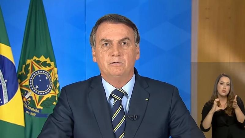 巴西總統波索納洛透過電視演說稱媒體對於疫情過於誇大。(翻攝自Jair Bolsonaro YouTube頻道)
