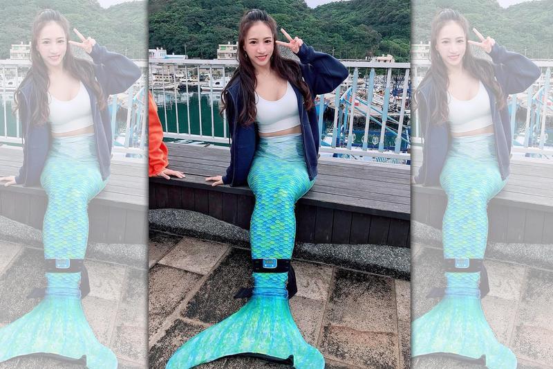林采緹胸前深U剪裁露出豐滿北半球、事業線,下半身套上錄影所需的美人魚裙襬。(翻攝自林采緹IG)
