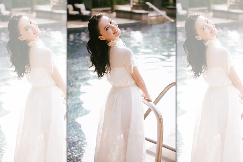 張栢芝身穿一襲白色落地透紗裙,長髮飄逸回眸一笑,猶如剛出道時的她。(翻攝自微博)