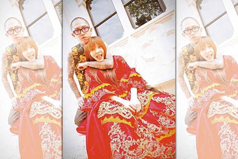 先前謝和弦和莉婭(右)到南投拍婚紗照,莉婭不管批評,堅持跟還沒離婚的謝湊作夥。