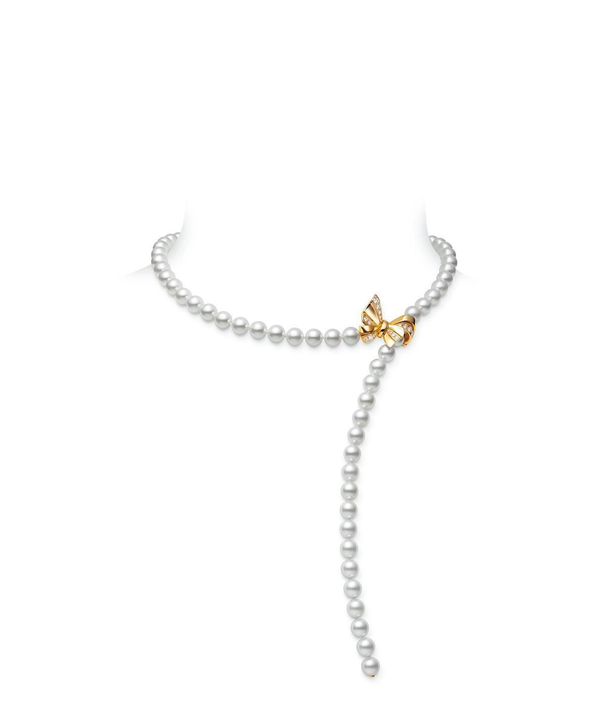 Jeux de Rubans系列珍珠串鍊18K黃金搭配日本Akoya珍珠、總重約0.41克拉鑽石。NT$288,000