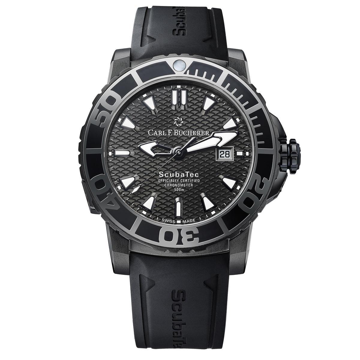 柏拉維深潛腕錶碳黑版,大氣的線條與造型以DLC碳黑色鈦金屬錶殼重新詮釋,看起來更加陽剛。