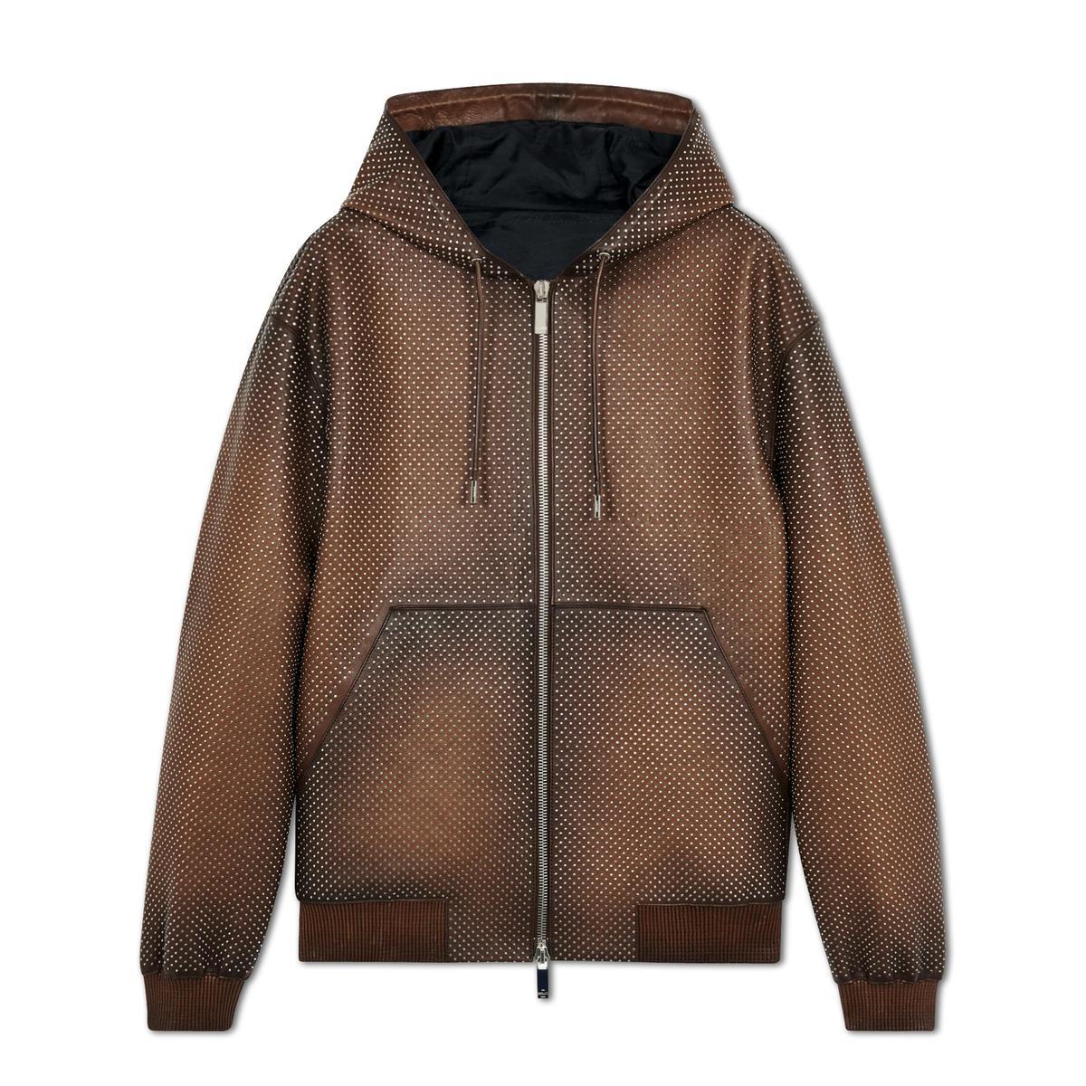 Patina皮革連帽外套。NT$340,000(Berluti提供)