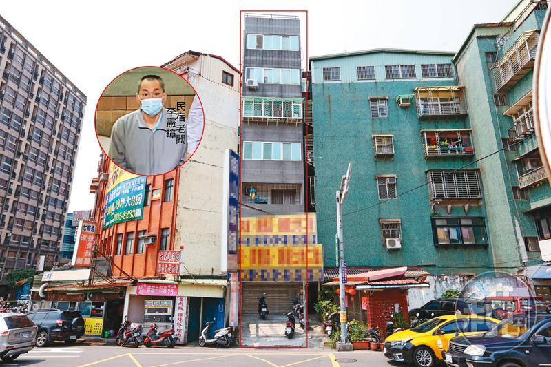 囚殺街友的主謀李憲璋,最近遭判刑14年定讞,當年恐怖民宿「老董的家」(紅框處),現已變成出租套房。(小圖東森新聞提供)