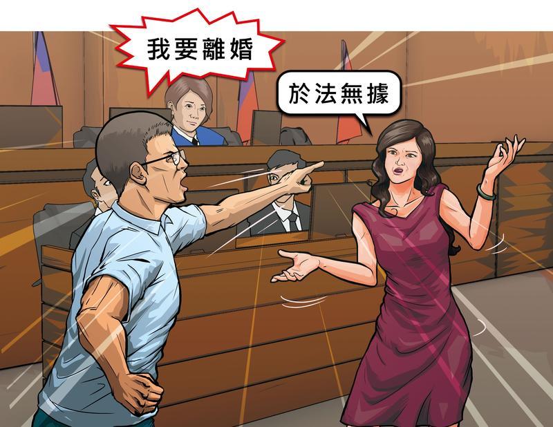 曾姓法官訴請與妻子離婚,雙方在法庭上針鋒相對,他指遭妻虐待,妻子反控他與不明女子曖昧,訴請離婚於法無據。