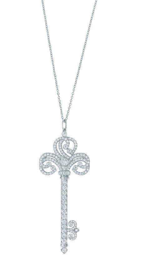 Tiffany Keys 心型鉑金鑲鑽鑰匙鍊墜 NT$381,000(鍊墜價格不含項鍊)