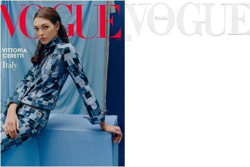 義大利版《VOGUE》最新一期雜誌封面(右圖)沒有明星和超模入鏡,不尋常的呈現方式引起話題討論。(翻攝IG vogueitalia)