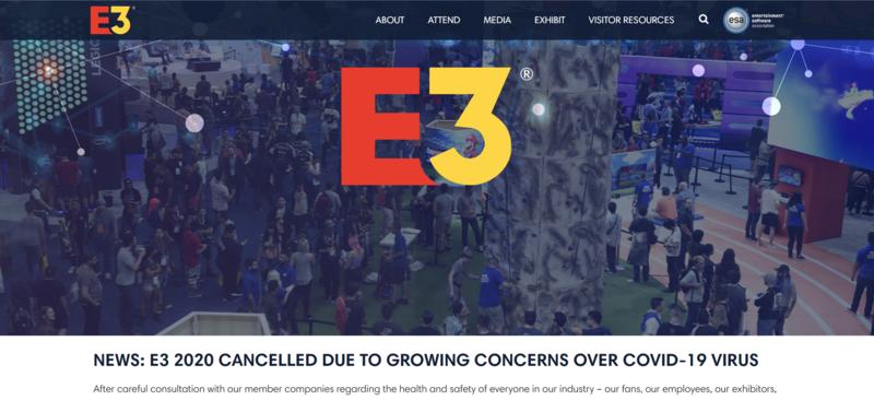 今年的 E3 展全面取消。(翻攝 E3expo 官網)