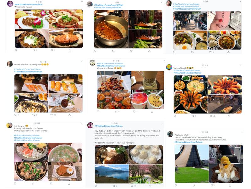 「來自台灣的攻擊(#ThisAttackComesFromTaiwan)」,說到比拚美食,台灣人不可能溫良恭儉讓的。(翻攝 Twitter)