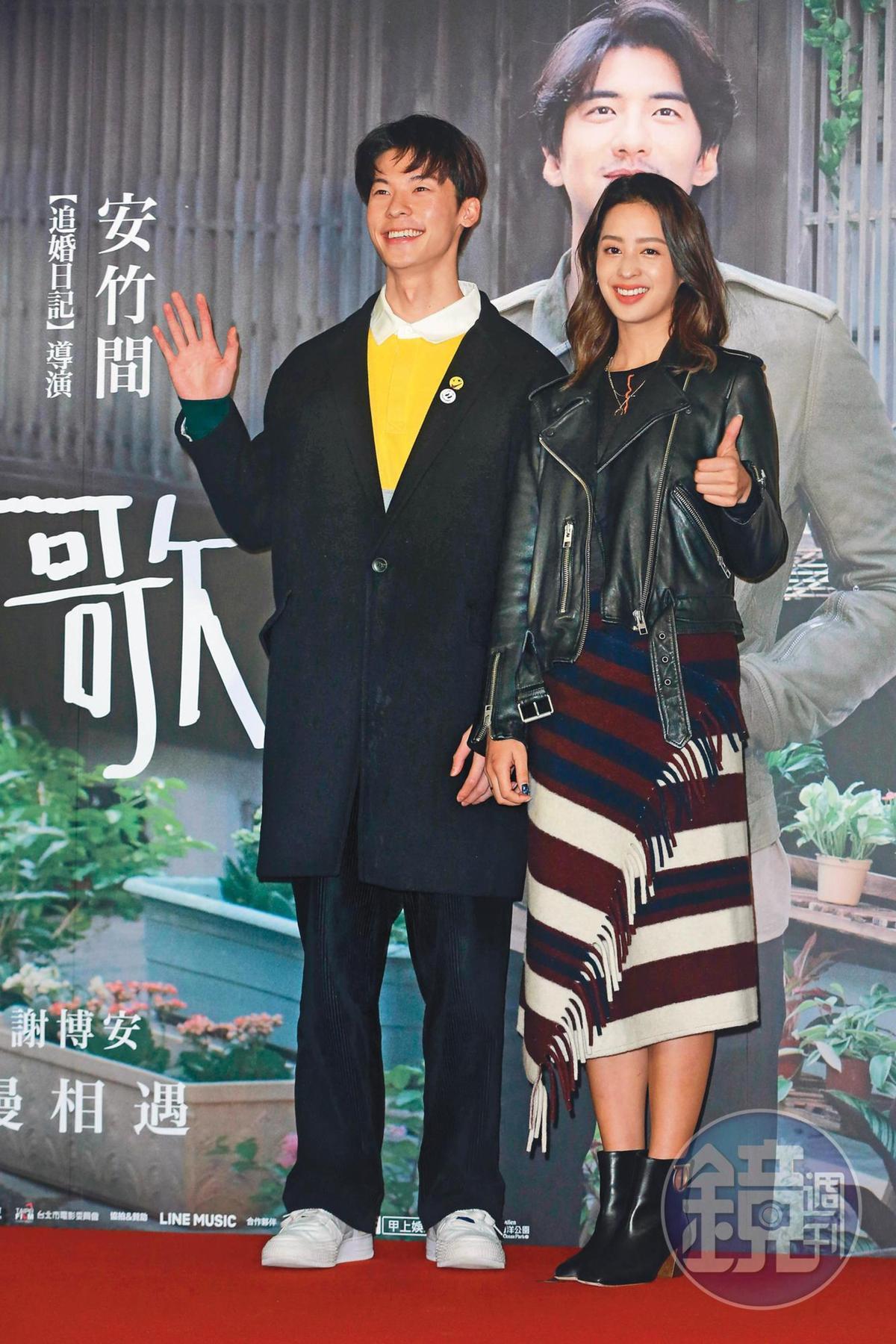 爆紅的許光漢(左)跟莫允雯(右)攜手參加電影《你的情歌》記者會。