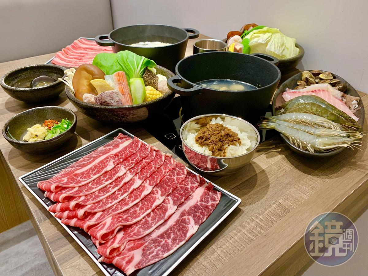 延續母品牌樂軒對選肉的堅持,火鍋店提供美國牛、日本和牛、西班牙豬、台灣溫體雞。