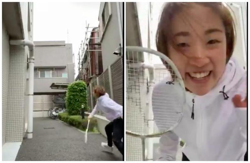 日本羽球女單好手奧原希望昨在家附近巷子內練球。(翻攝自奧原希望推特)