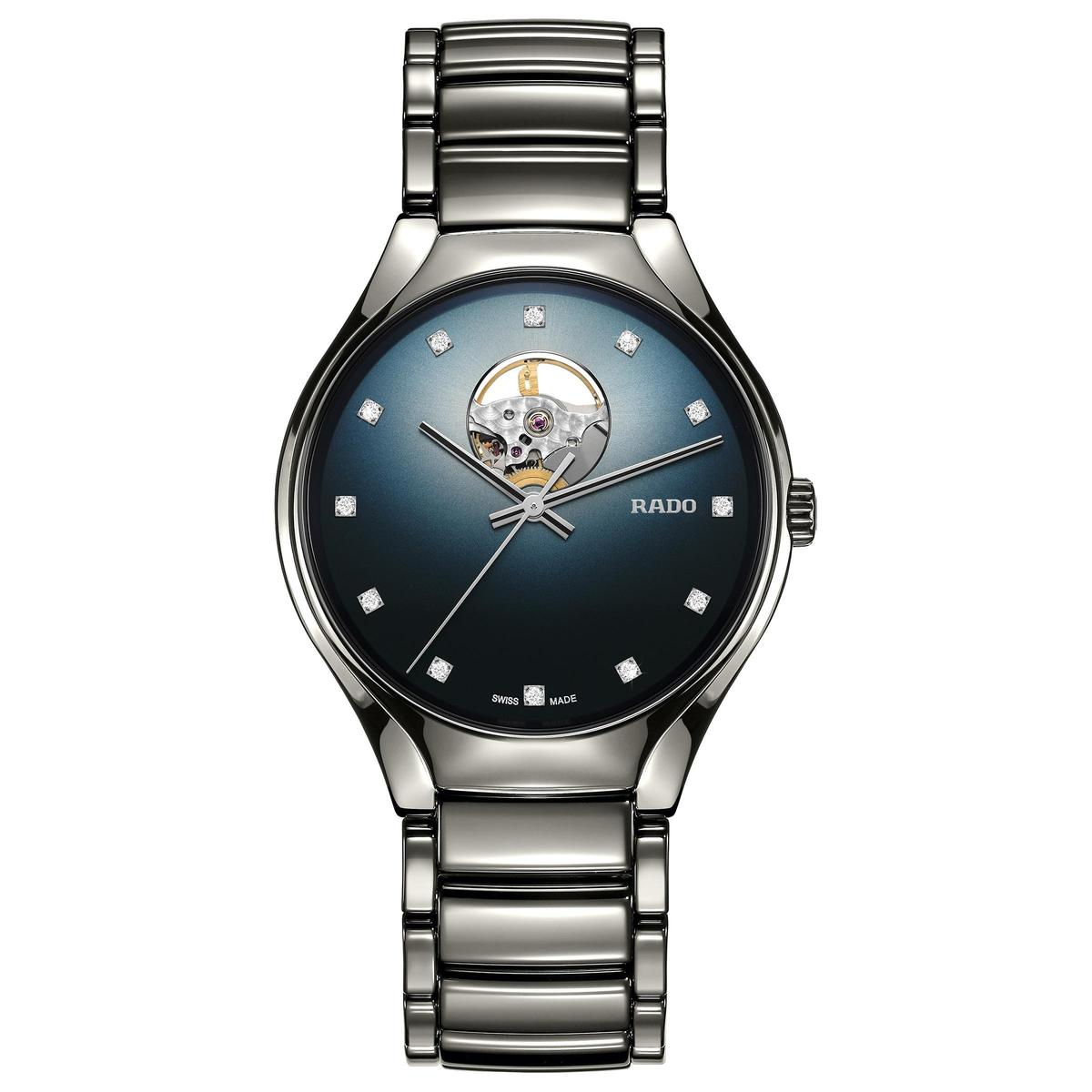 True Secret真我系列秘密鏤空自動腕錶,藍色間層面加上鑲鑽時標,定價NT$74,200。