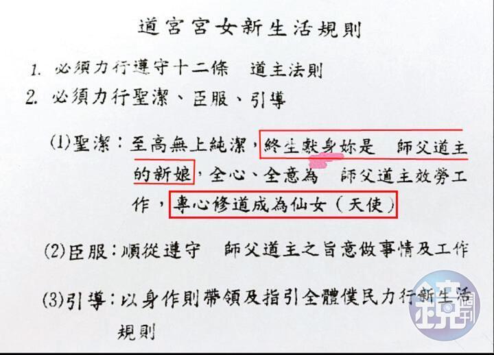 仙女班手冊提到,年輕女孩要臣服少龍,並且終生獻身。