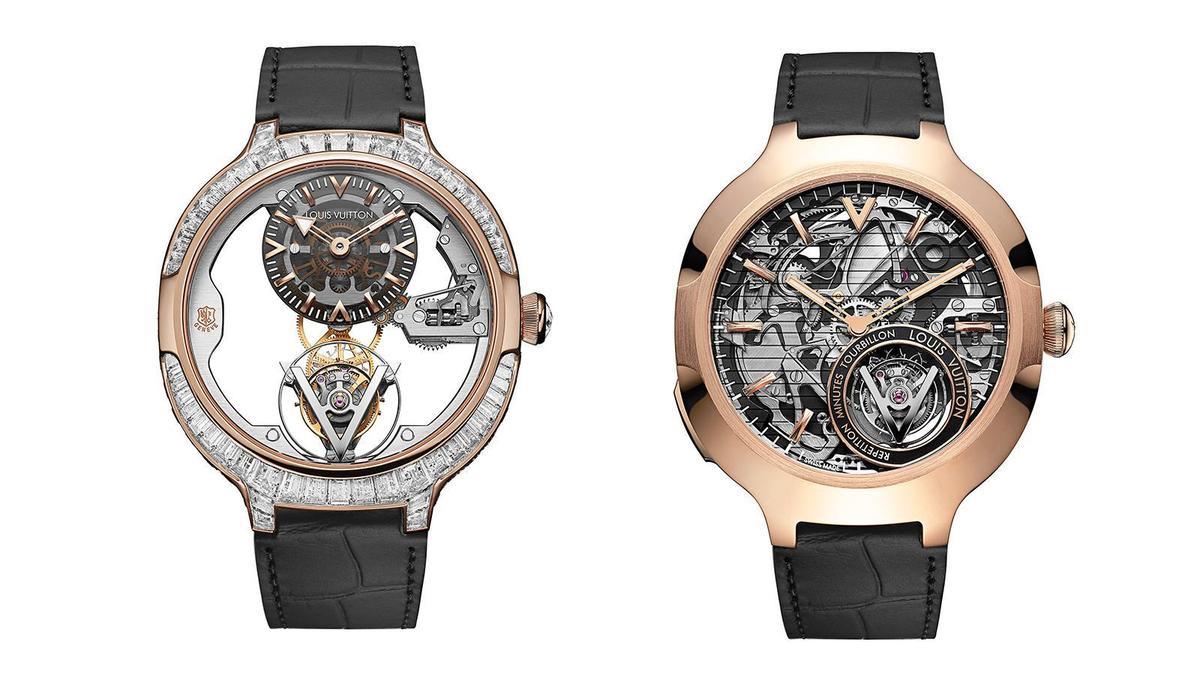 (左)Voyager日內瓦印記飛行陀飛輪玫瑰金鑽錶|錶徑41mm、18K玫瑰金材質、時間指示、飛行陀飛輪裝置、LV 104手上鏈機芯、鑲嵌147顆鑽石(約10.43克拉)、防水50米。(右)Voyager飛行陀飛輪三問玫瑰金腕錶|錶徑42mm、18K玫瑰金材質、時間指示、飛行陀飛輪裝置、三問功能、LV 100手上鏈機芯、防水30米