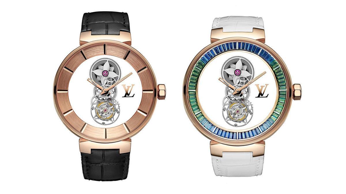 (左)Tambour Moon Mystérieuse Or Rose|錶徑45mm、18K玫瑰金材質、時間指示、飛行陀飛輪裝置、LV 110手上鏈機芯、可客製化錶背、防水50米。(右)Tambour Moon Mystérieuse Saphirs Rainbow Lagoon|錶徑45mm、18K玫瑰金材質、時間指示、飛行陀飛輪裝置、LV 110手上鏈機芯、可客製化錶背、鑲嵌72顆藍寶石(約3.38克拉)、防水50米
