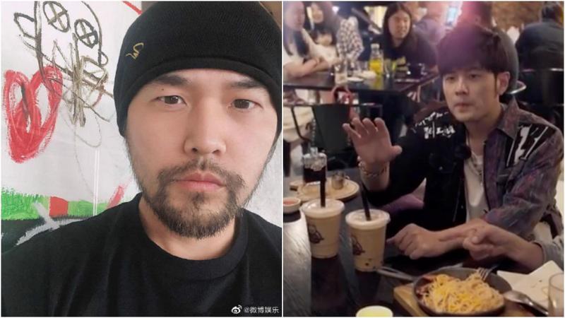 周杰倫在微博曬了鬍照(左),嗯,似乎瘦一點。(翻攝自周杰倫微博、IG)