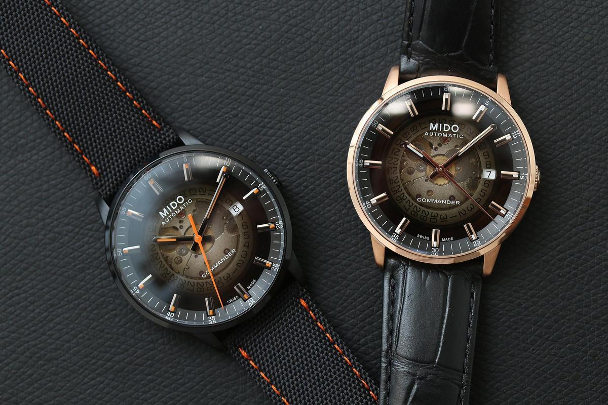 Commander Gradient香榭系列漸層80小時腕錶,煙煤灰色半透明面盤可隱約看見機芯零件。定價NT$31,200起。