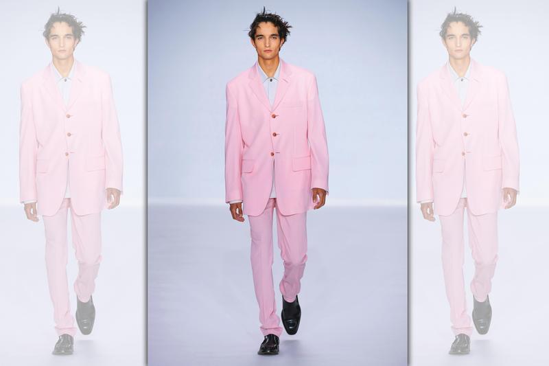 2020春夏的Paul Smith男人,能將粉紅色完美駕馭,同時透過服裝搭配為視覺效果捎來幾分沁涼。西裝外套 NT$49,500、粉色長褲 NT$20,300。(藍鐘提供)