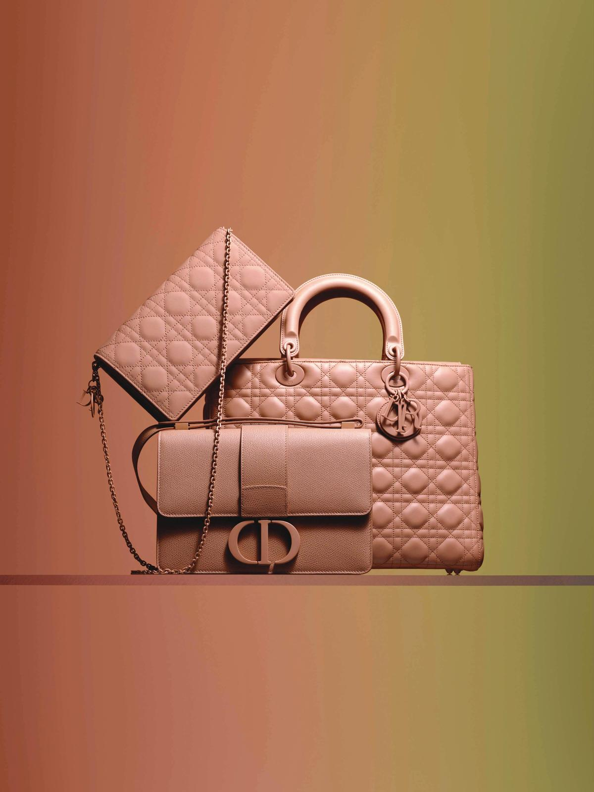 Dior ULTRA MATTE COLORAMA極致霧彩配件系列中的粉膚色包款。NT$58,000~NT$150,000不等。(Dior提供)