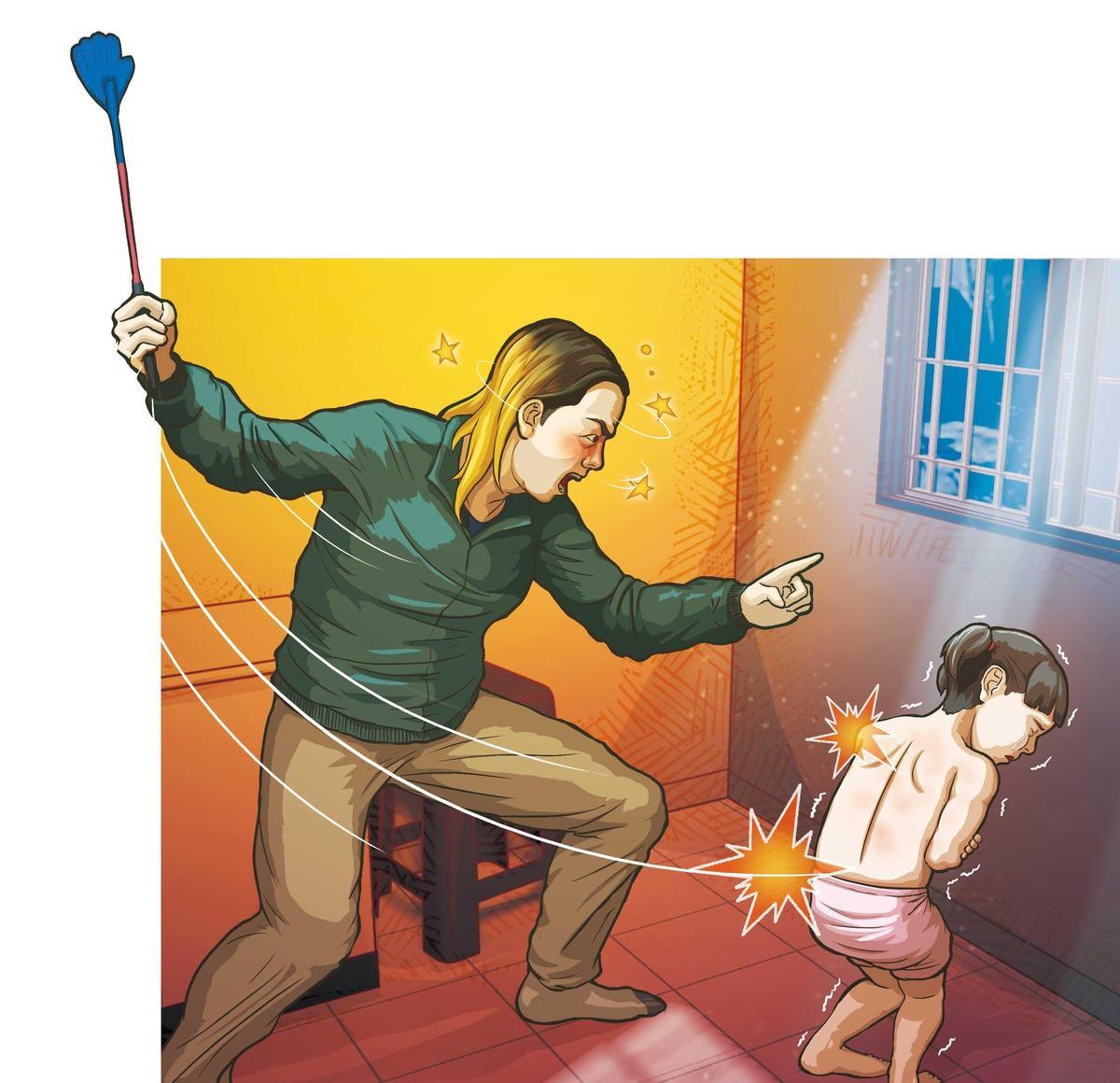阿宏脫掉女童的衣服,並拿「愛的小手」毆打女童。(圖為示意畫面)