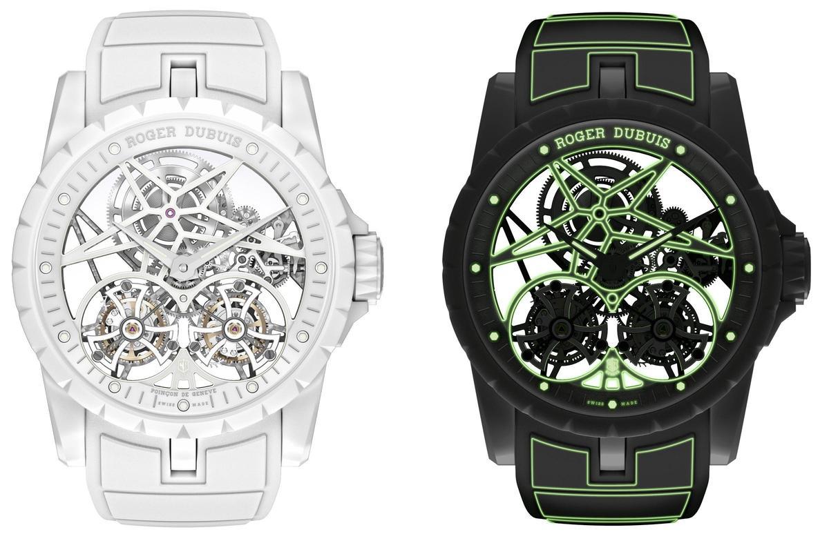 照片裡頭可不是兩支不同的錶這是羅杰杜彼Excalibur Twofold腕錶在白天與夜間的不同面貌!全球限量8只,定價NT$8,860,000。