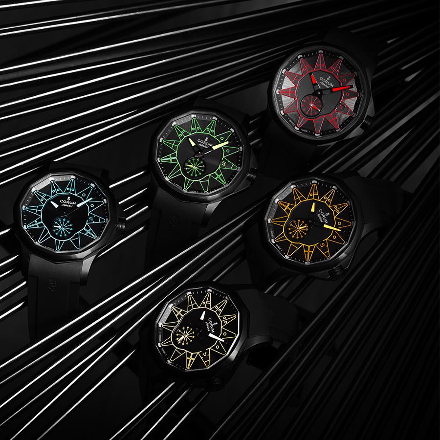 錶徑42mm、黑色PVD不鏽鋼錶殼、時間及日期指示、CO 395自動上鏈機芯、防水50米、每色各限量100只、建議售價NTD 185,000
