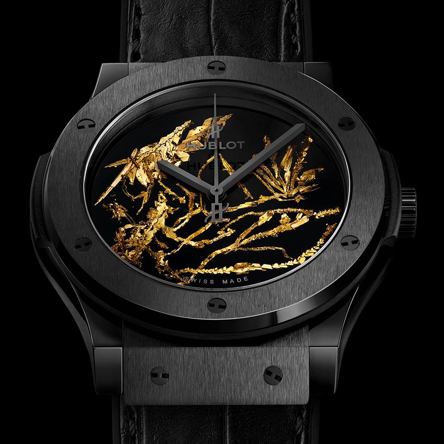 錶徑45mm、黑色陶瓷錶殼、時間指示、HUB1112自動上鏈機芯、防水50米、建議售價NTD 654,000
