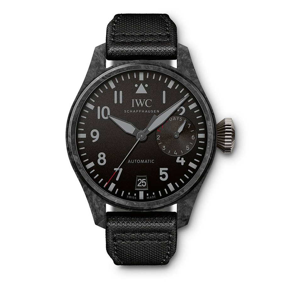 型號IW506101  錶徑46.5mm、碳纖維錶殼、時間及日期指示、動力儲存指示、52110自動上鏈機芯、限量100只、防水60米