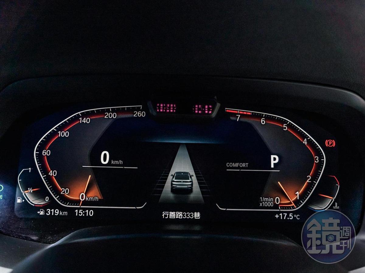 12.3吋數位儀錶可顯示包含導航與周圍偵測等多種資訊。