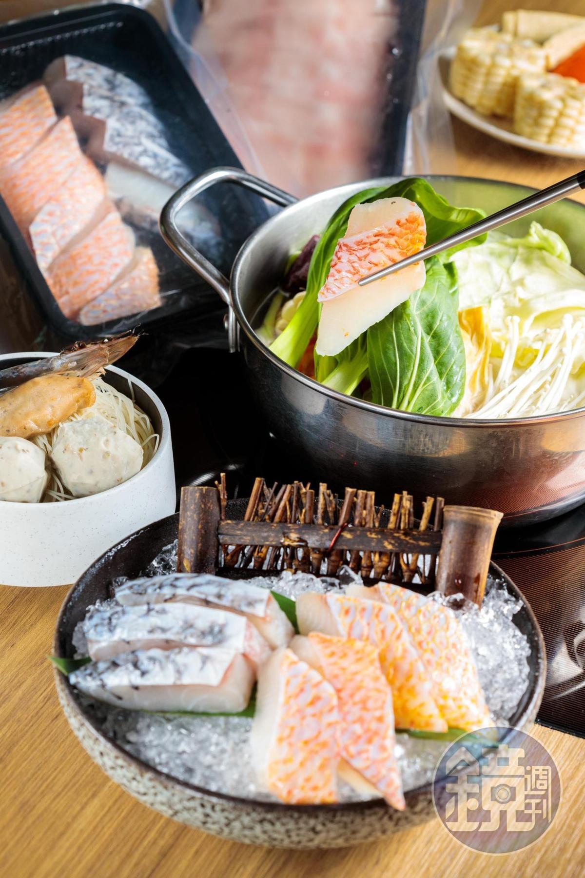 「鱻食火鍋個人外帶組」除了海紅鯛與金目鱸的海鮮主餐,也可選擇肉片或海陸。湯底有昆布、薑黃咖哩、酸白菜等口味,主食附上褐藻炊粉,飽足又健康。(349元/套)