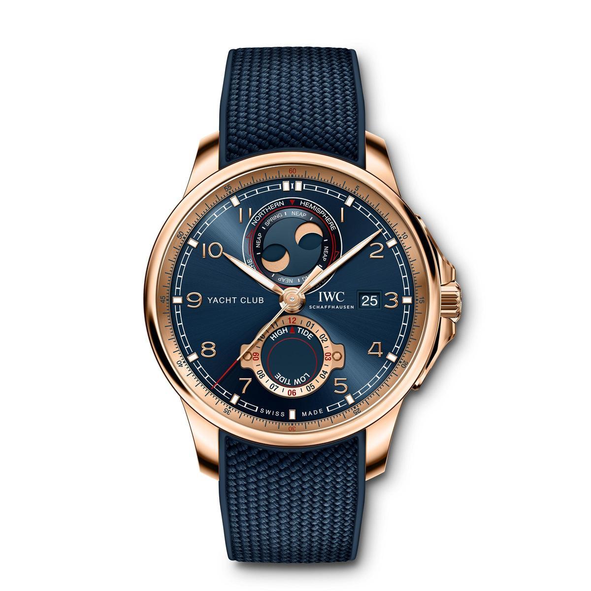 葡萄牙航海精英腕錶全新雙月相與潮汐顯示功能,這也是IWC首度推出的功能,定價NT$1,086,000。
