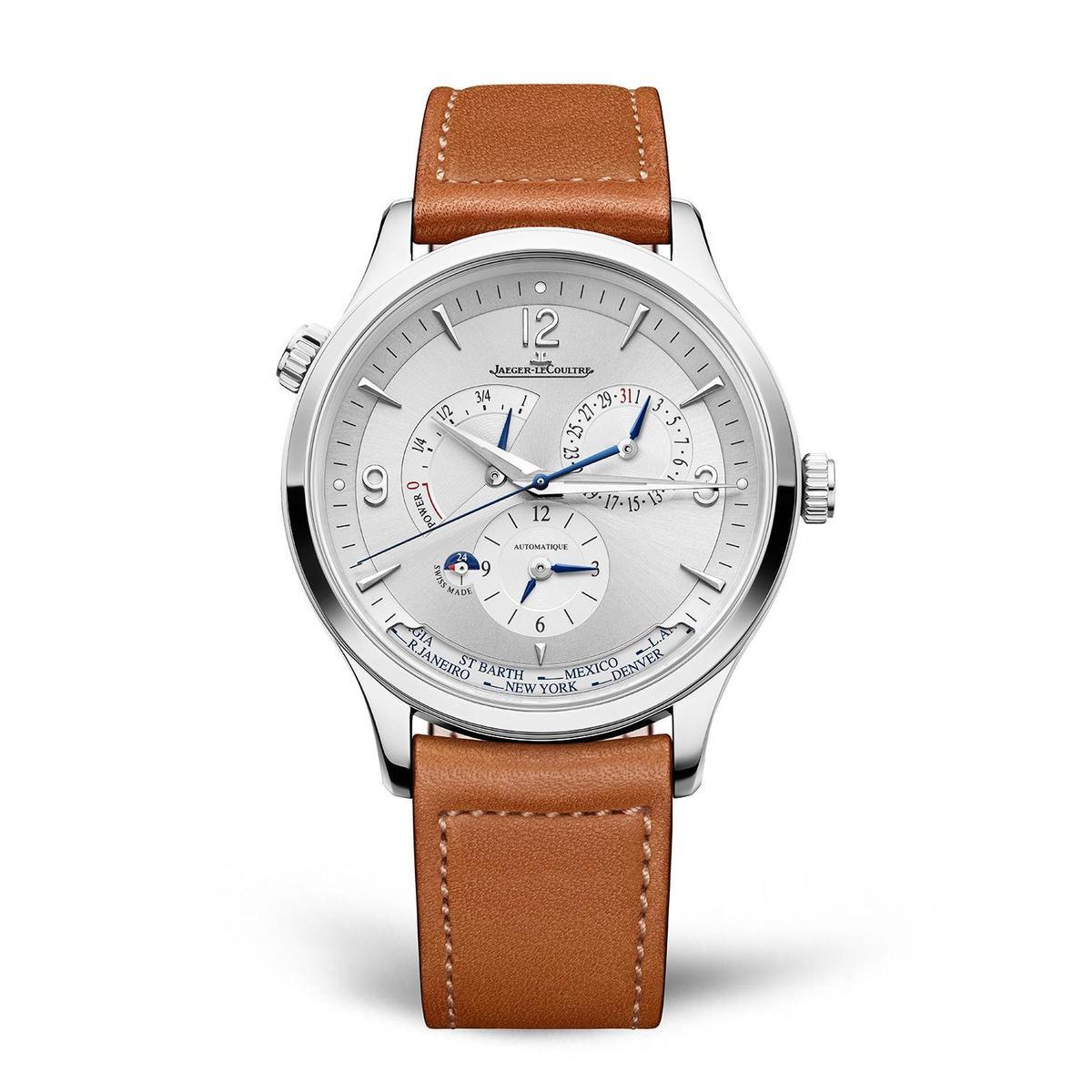 Master Control Geographic大師系列地理學家腕錶,40mm精鋼錶殼,裝載新一代939型自動上鏈機芯,具備矽材質擒縱裝置,動力儲存70小時,參考價約NT$385,000。