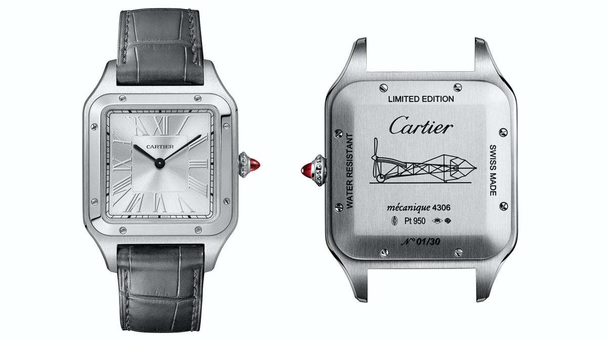 Santos-Dumont「Le Brésil」腕錶大型款|43.5 x 31.4mm、鉑金材質、時間指示、430MC型手上鏈機芯、錶冠鑲嵌一顆凸圓形紅寶石、限量100只