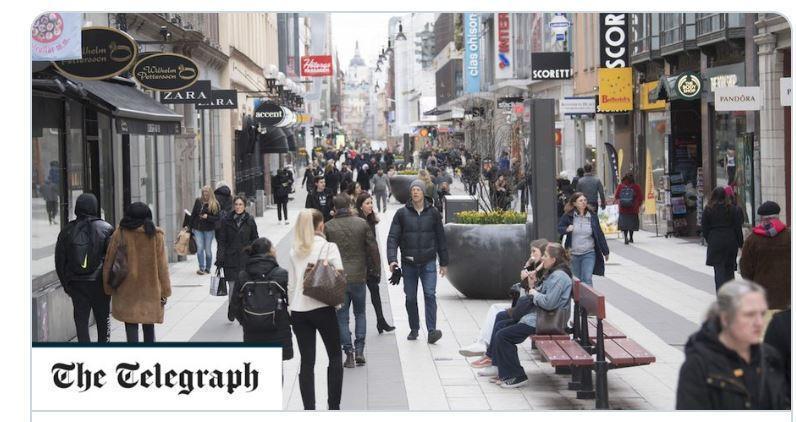 瑞典不封城,民眾對於自己仍享有絕大部份的自由,很是滿意。(翻攝the Telegraph)
