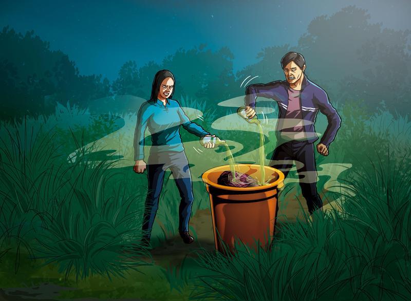 吳俊忠(右)及熊俐琪(左)將死者裝入大塑膠桶、倒入鹽酸,防止產生屍臭味。(圖為示意畫面)