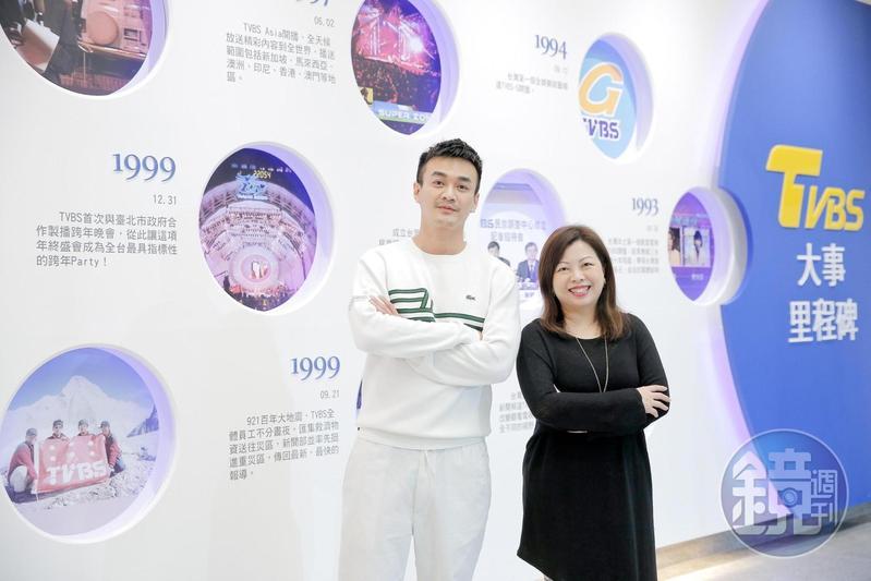 劉文硯(右)上任後即進行組織改造,將綜藝、戲劇部門合併為「娛樂節目部」,戴天易(左)升任總監。