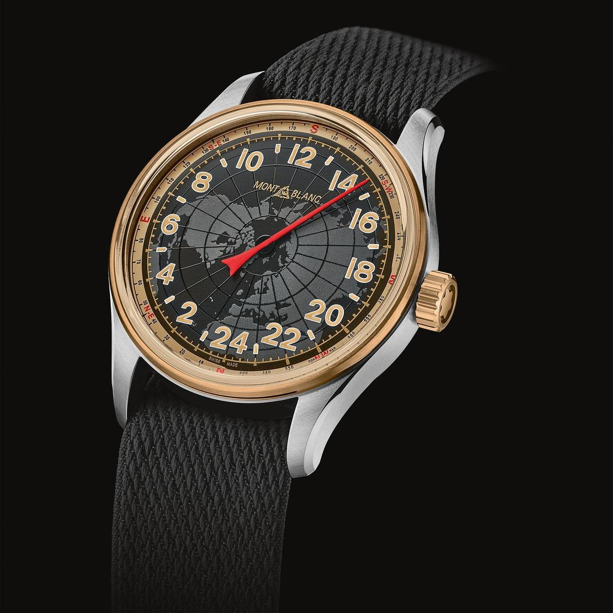 1858系列24H自動腕錶。少見的單針指示功能有話題之外,其單指針還能配合太陽位置計算出方位。定價約NT$100,300。