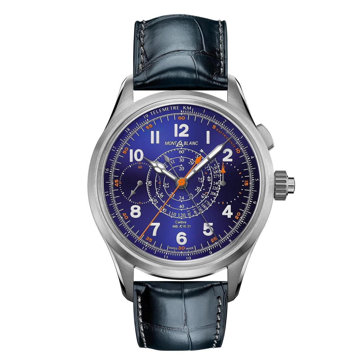 1858系列雙秒追針計時腕錶,鈦金屬材質錶殼配上藍色琺瑯面盤,裝載MB 29.25手上鏈單按把計時機芯。全球限量100只,定價NT$1,137,000。