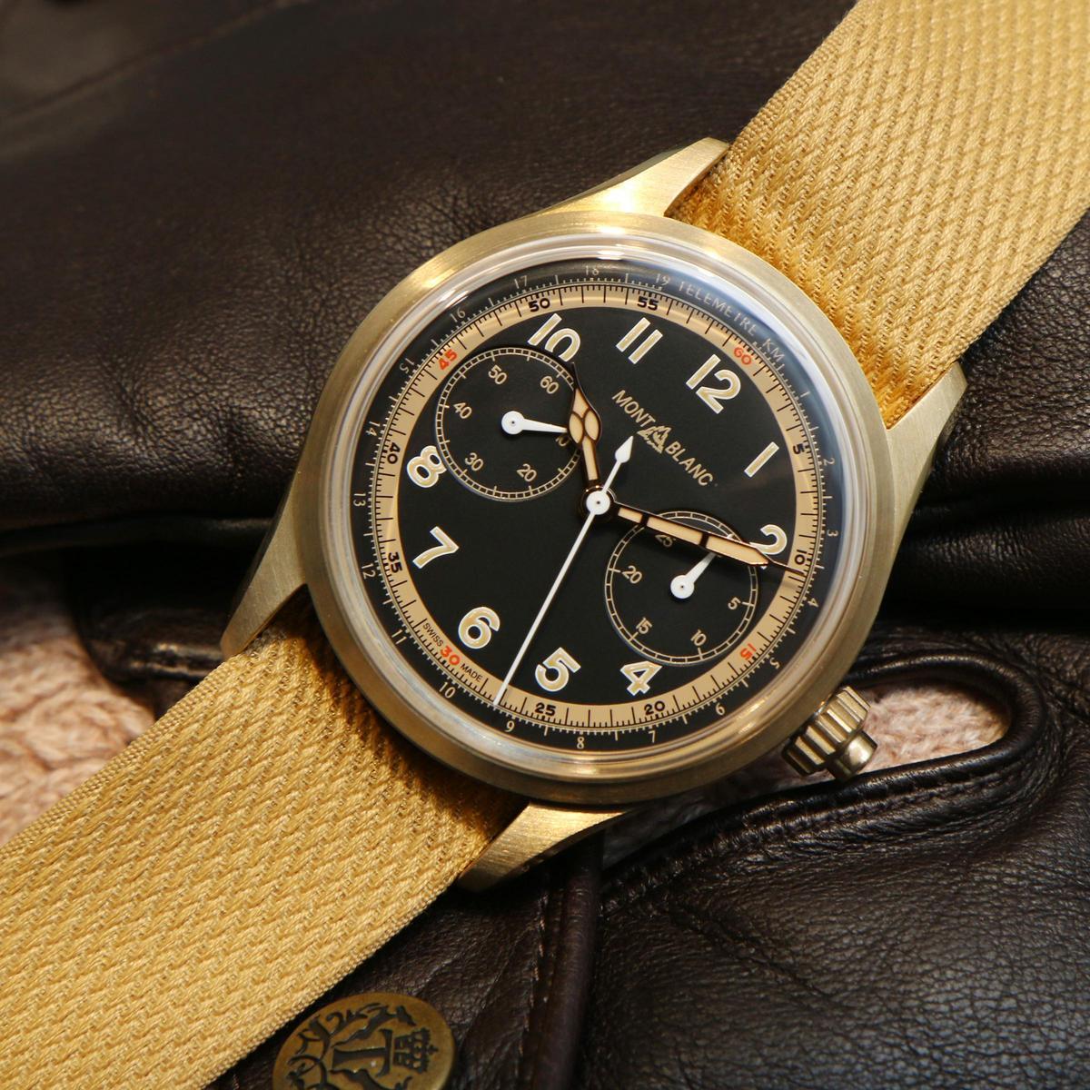 1858系列單按把計時碼錶限量版,青銅合金材質錶殼,裝載MB 25.12自動上鏈計時機芯,限量1858只,定價NT$186,800。
