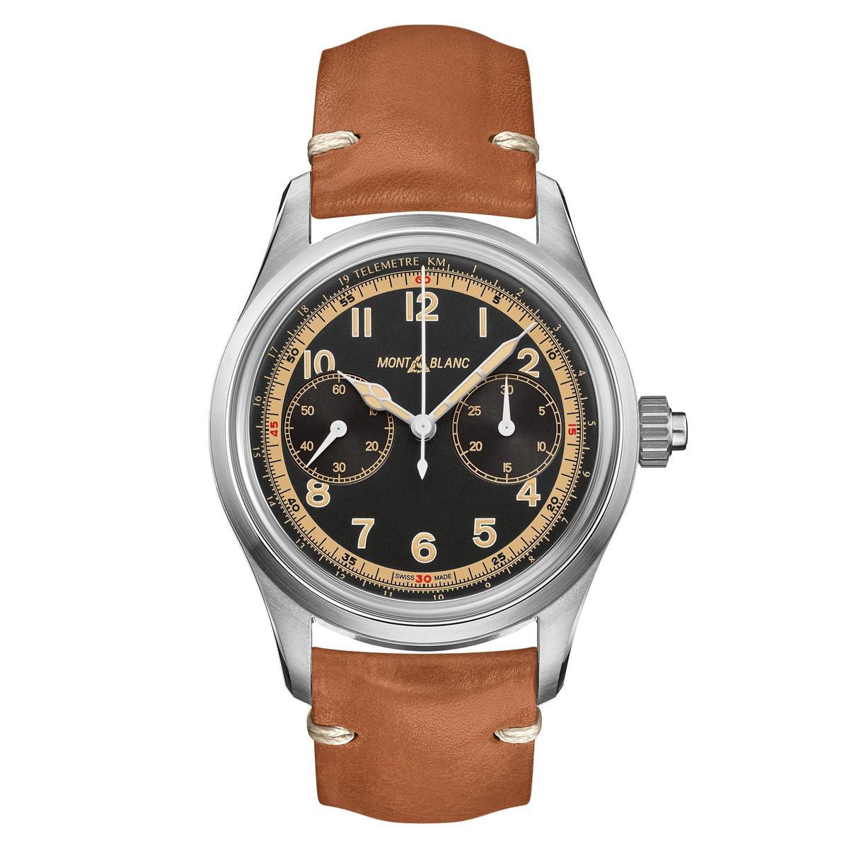 1858系列單按把計時碼錶,不鏽鋼表殼搭配復古皮錶帶,定價NT$162,600。