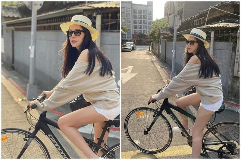 許瑋甯昨在Instagram曬出數張騎著單車的照片,一雙雪白長腿,輕露香肩。(翻攝自AnN HsU 許瑋甯Instagram)