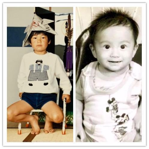 有網友拿出言承旭兒時照(右)和AKIRA所曬的童年照(左)做對比,發現兩人有許多相似處。(翻攝自網路)