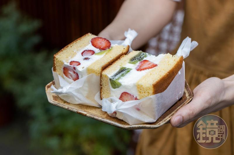 「季節水果三明治」酸酸甜甜,顏值走少女風。(160元/個)