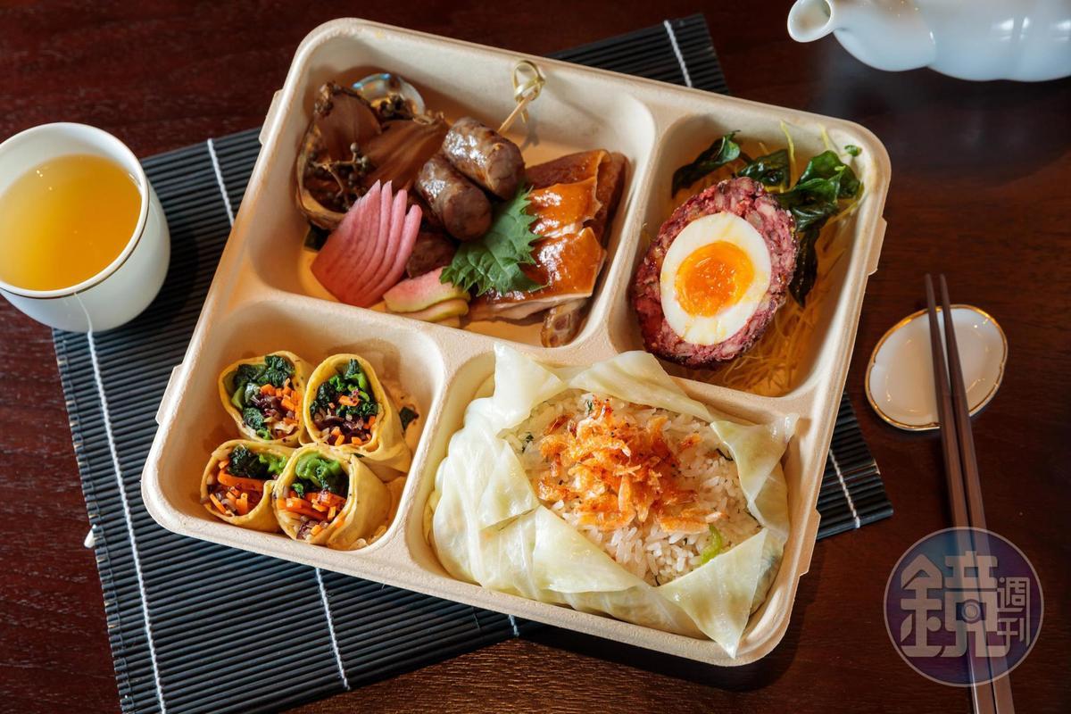 「吉‧星級台式手工精緻餐盒」主食為「櫻花蝦菜飯」及紅糟雞肉裹覆溏心蛋酥炸的「圓滿無缺」。(380元/盒)