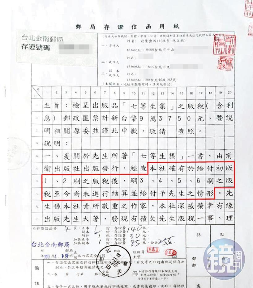 前衛出版社發出存證信函、附上九萬多元支票,企圖擺平七等生。