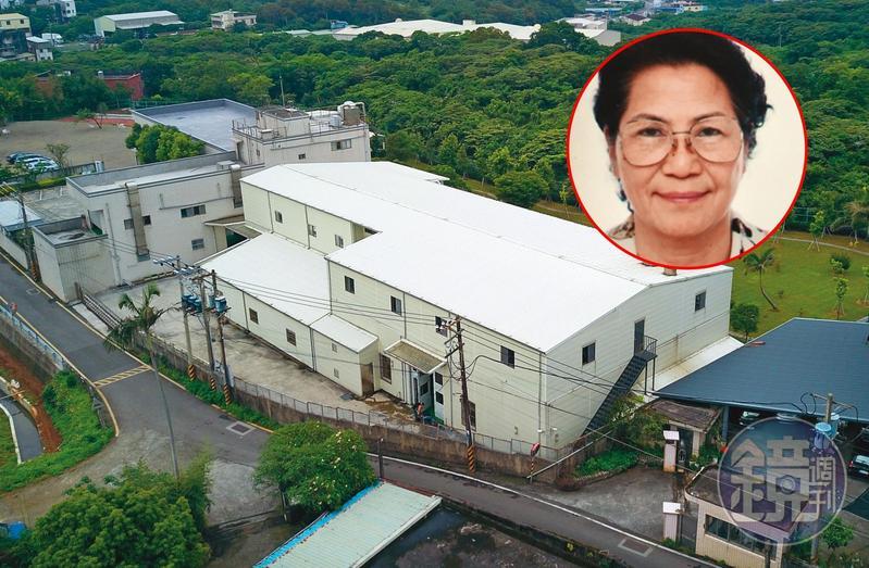 女會計陳碧足(小圖)在一家飲水機工廠(白色建物)擔任會計多年,竟利用公司信任,侵吞公司工廠價值7千萬元的土地,圖為該工廠土地外觀。(讀者提供)