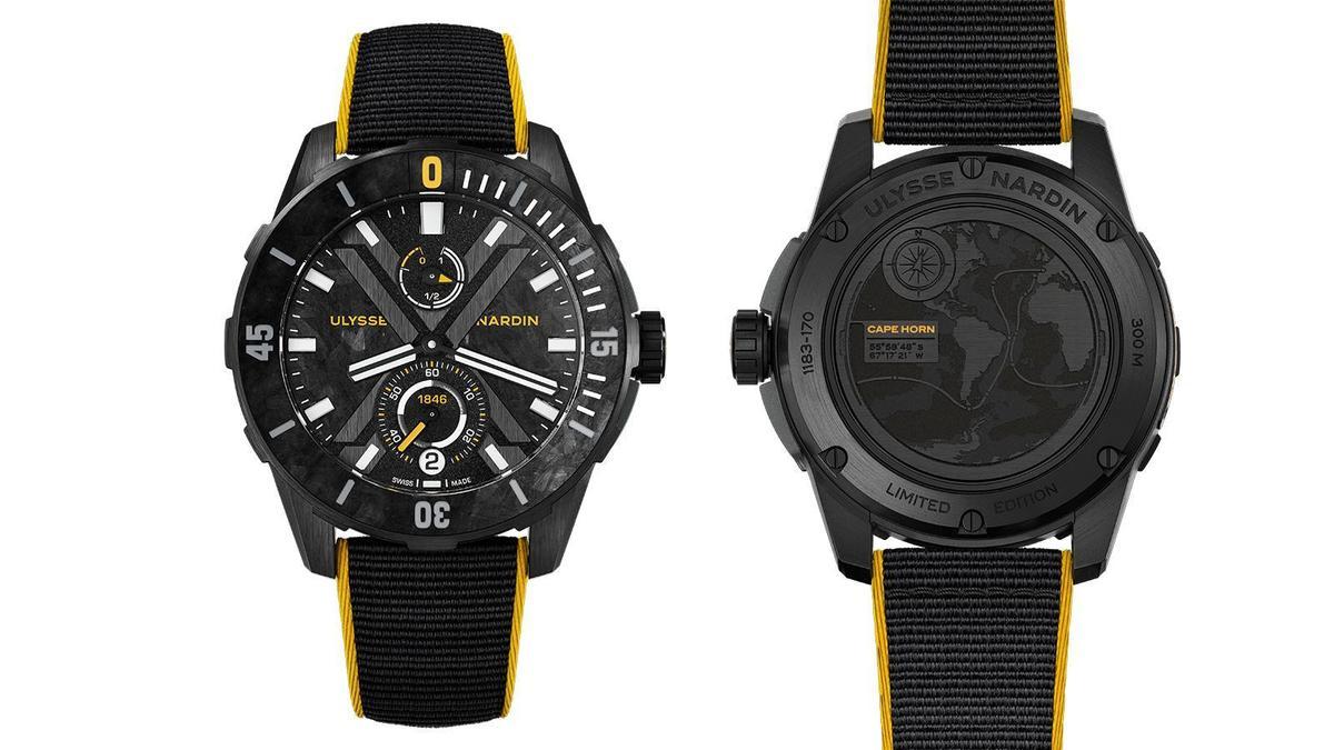 Diver X合恩角錶款 | 錶徑44mm/黑色DLC鈦金屬錶殼/UN-118自動上鍊機芯/時間、日期與動力儲存指示/防水300米/限量300只/建議售價NT$ 327,300